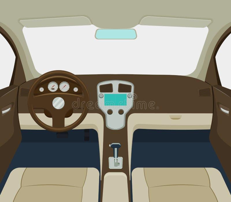Samochodowa wewnętrzna wektorowa ilustracja ilustracji