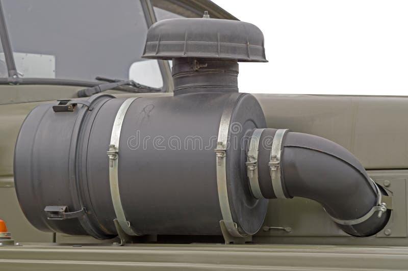 Samochodowa Wydmuchowa drymba z Muffler silnikiem odizolowywającym na bielu zdjęcie stock