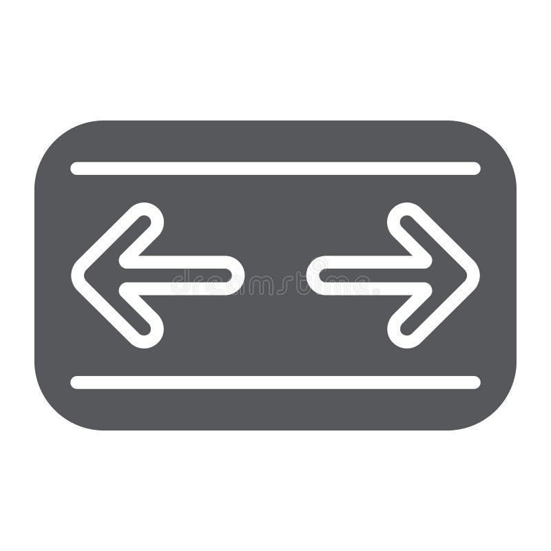Samochodowa zwrotów sygnałów glifu ikona, samochód i panel, deska rozdzielcza znak, wektorowe grafika, bryła wzór na białym tle royalty ilustracja