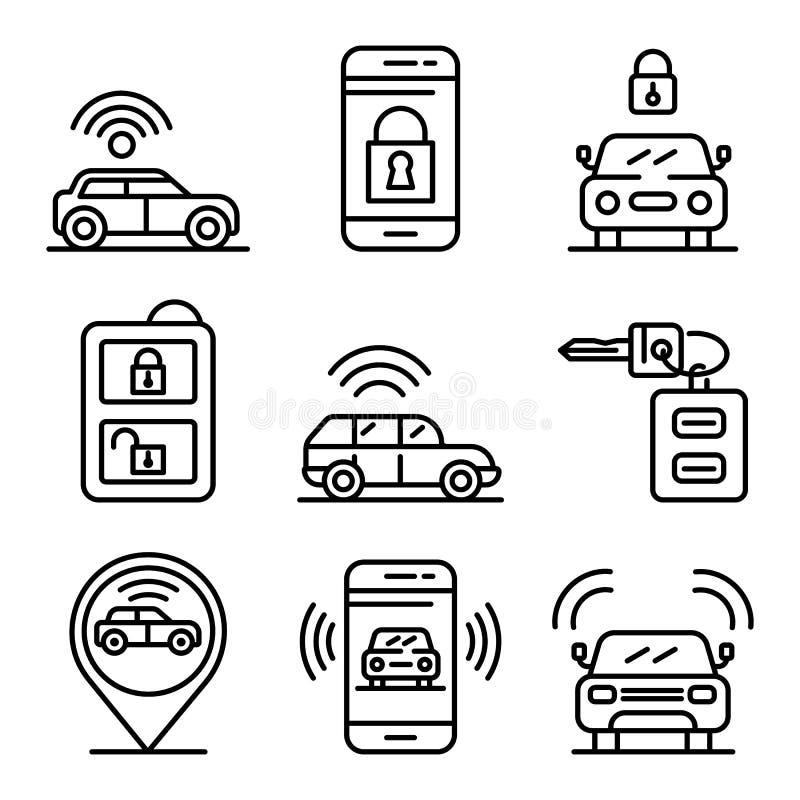 Samochodowe alarmowego systemu ikony ustawiać, konturu styl royalty ilustracja