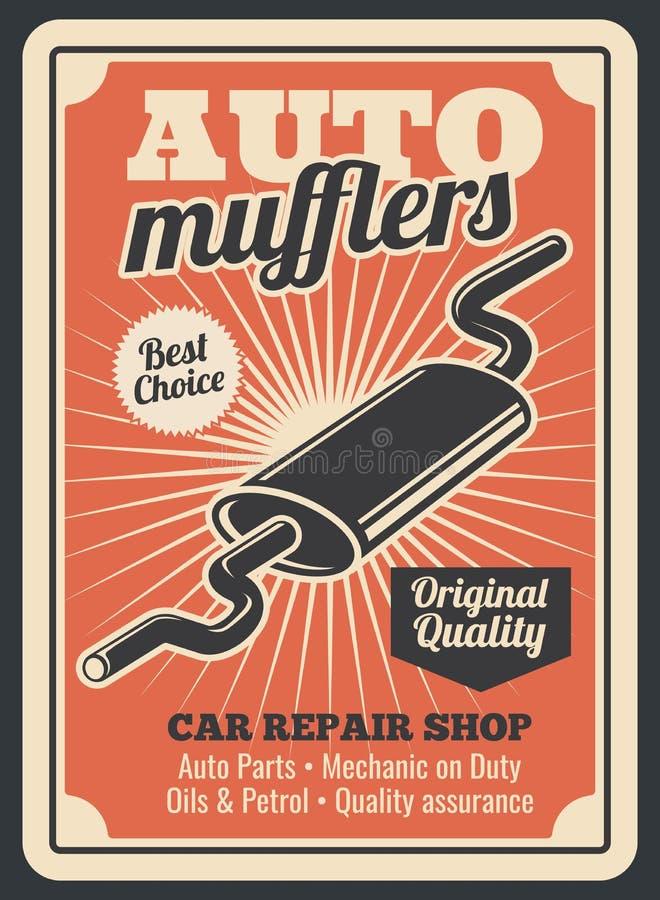 Samochodowe auto muffler części przechują wektorowego retro plakat ilustracja wektor