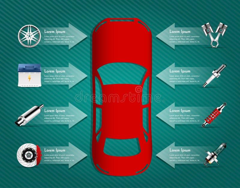 Samochodowe części ilustracja wektor