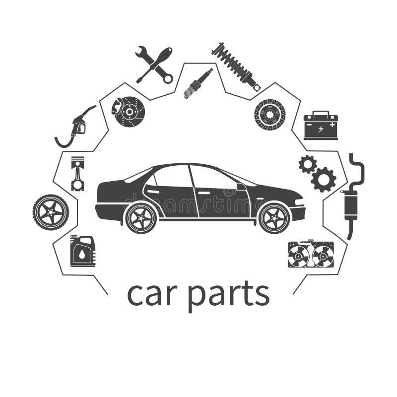 Samochodowe części auto dodatkowe części dla napraw ilustracja wektor