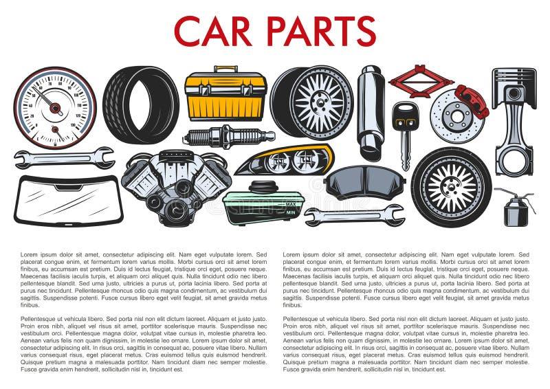 Samochodowe części i samochodu mechanika usługowi narzędzia royalty ilustracja