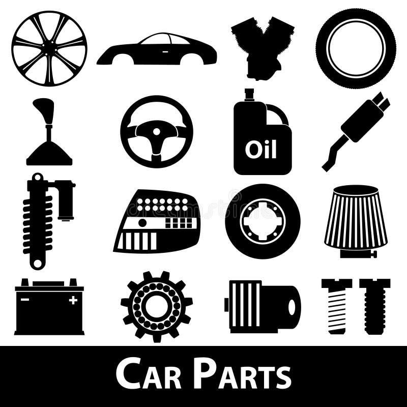 Samochodowe części przechują proste czarne ikony ustawiającego eps10 ilustracji