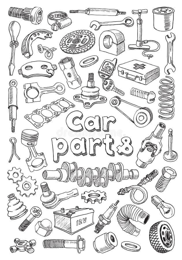 Samochodowe części w freehand rysunku stylu ilustracja wektor