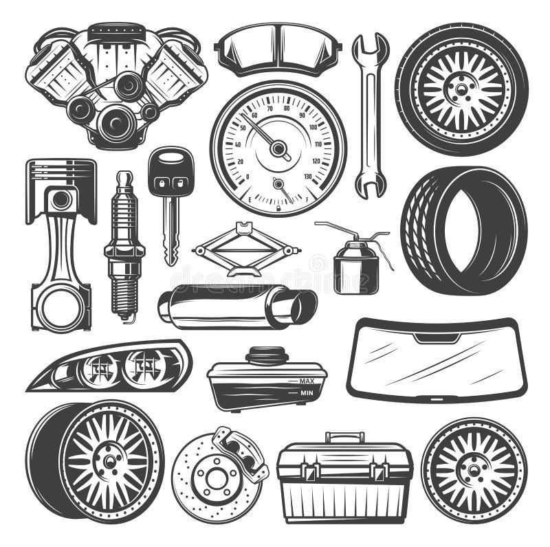 Samochodowe dodatkowe części i instrumentu nakreślenia wektorowy set ilustracja wektor