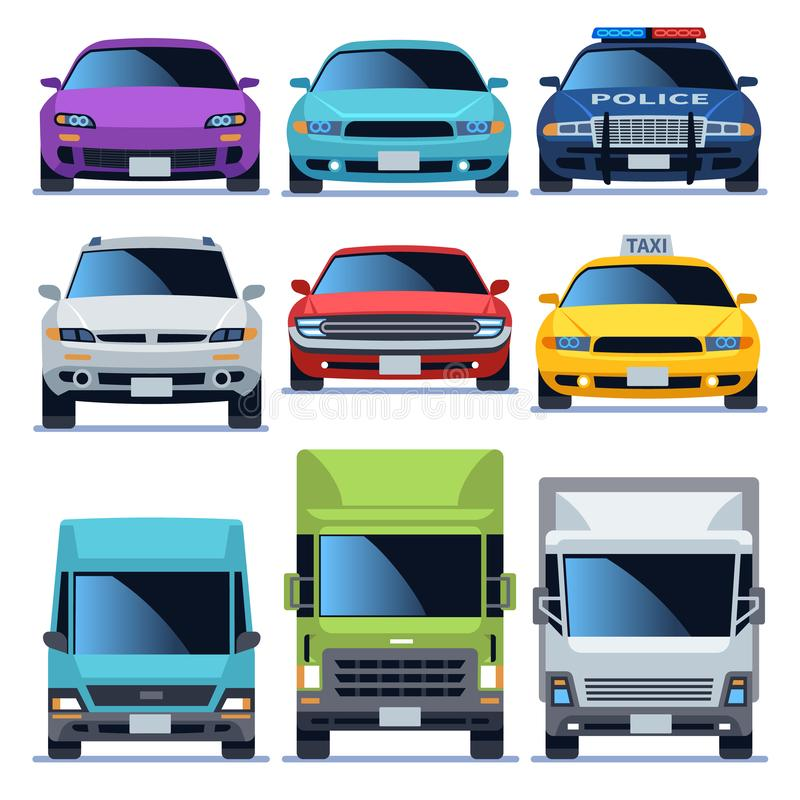 Samochodowe frontowego widoku ikony ustawiać Pojazdu jeżdżenia samochodu usługi policja przewozi samochodem sedanu taxi ładunku s royalty ilustracja