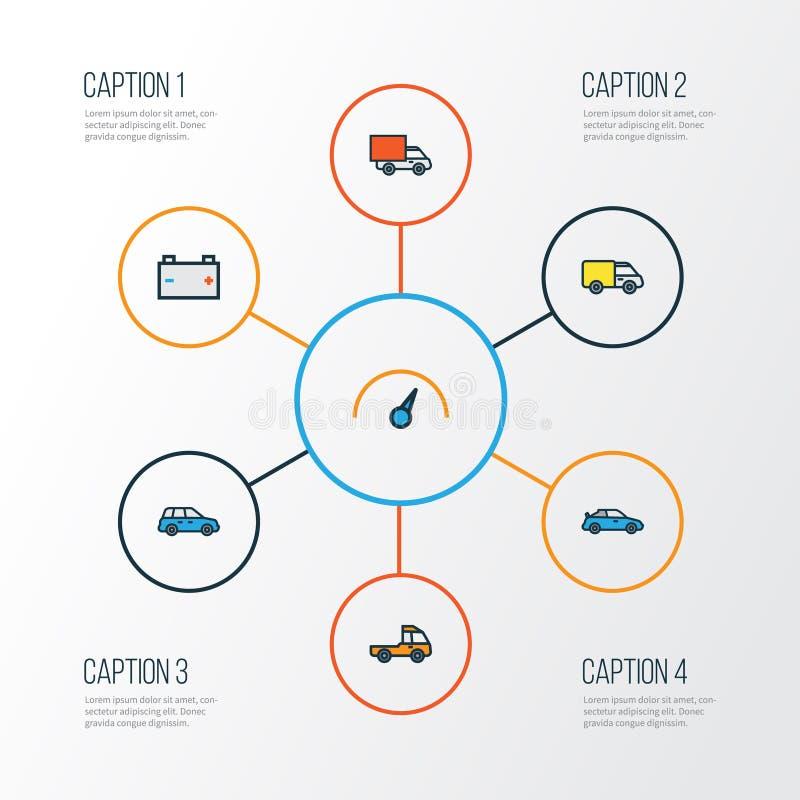 Samochodowe Kolorowe kontur ikony Ustawiać Kolekcja ślad, kabriolet, sedan I Inni elementy, Także Zawiera symbole Tak jak ilustracji