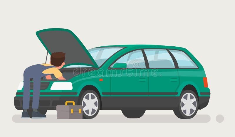 Samochodowe naprawy Auto mechanik otwierał kapiszon i naprawiał samochód również zwrócić corel ilustracji wektora royalty ilustracja