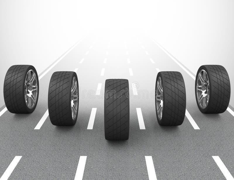 Samochodowe opony ilustracja wektor