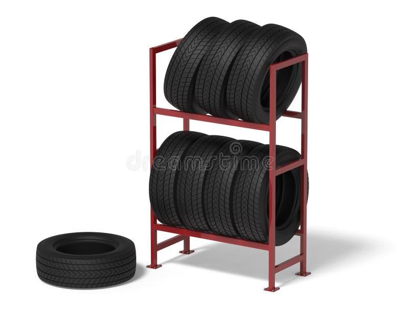 Samochodowe opony na stojaku ilustracja wektor