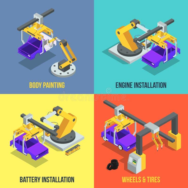 Samochodowe produkcj fazy Automatyzująca maszynerii linia Przemysłowe isometric wektorowe ilustracje ilustracja wektor
