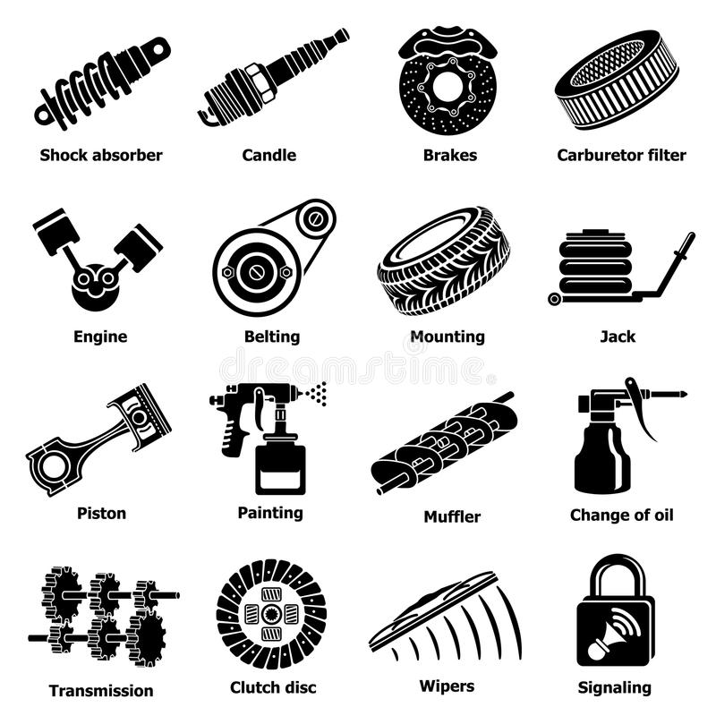 Samochodowe remontowych części ikony ustawiają, prosty styl ilustracja wektor