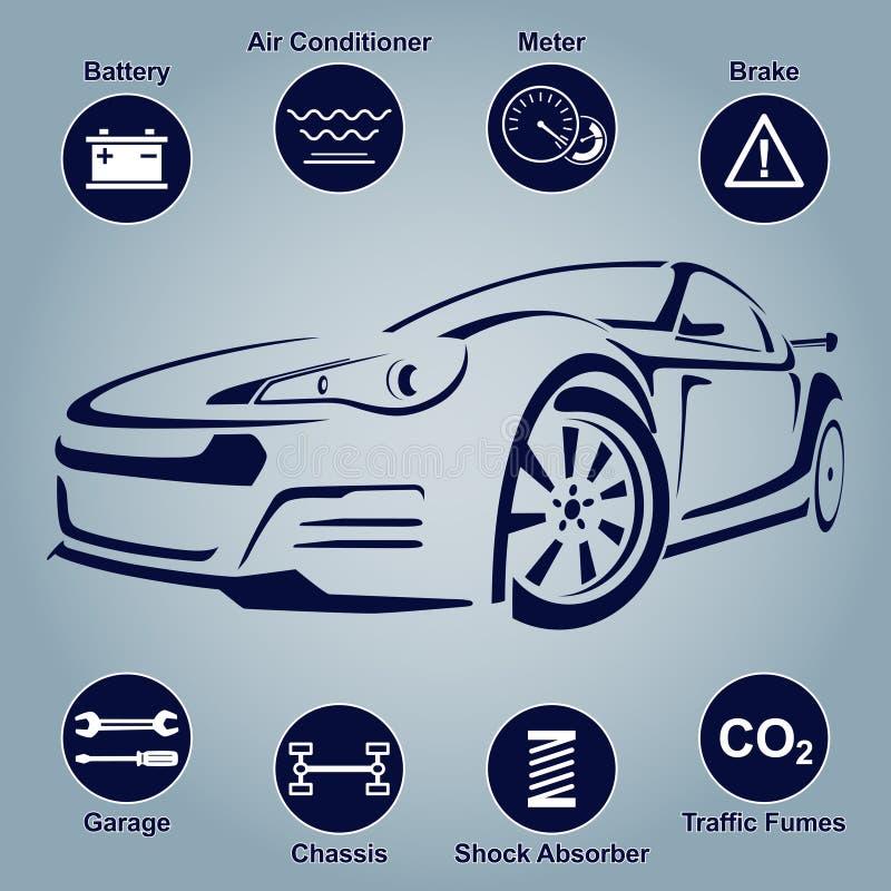 Samochodowe samochód usługa abstrakta linie Projektów elementy z machinalnymi części ikonami również zwrócić corel ilustracji wek royalty ilustracja