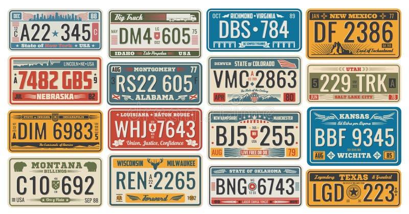 Samochodowe tablicy rejestracyjne dla pojazdów signboards wektorowych ilustracji
