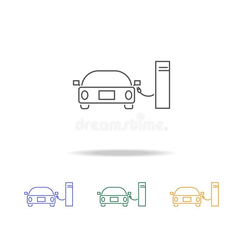 Samochodowe wodór staci ikony Element ekologia dla mobilnych pojęcia i sieci apps Cienka kreskowa ikona dla strona internetowa ro royalty ilustracja