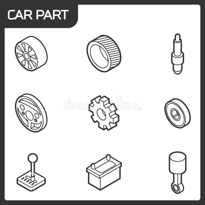 Samochodowego część konturu isometric ikony ilustracja wektor