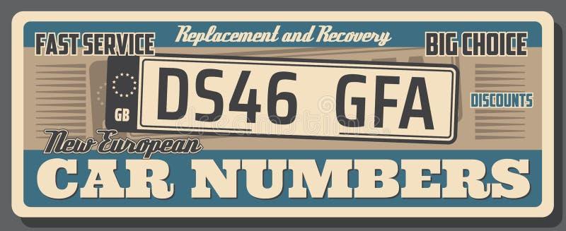Samochodowego numerowego talerza zastępstwa sklepu retro plakat ilustracji