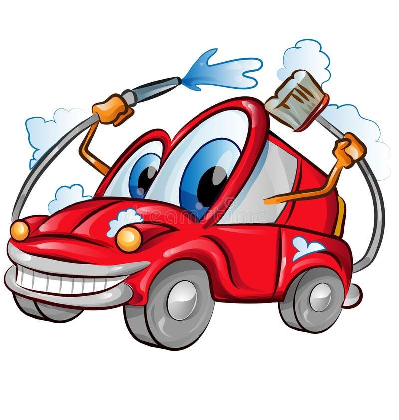 Samochodowego obmycia charakteru kreskówka nad tło bielem ilustracja wektor