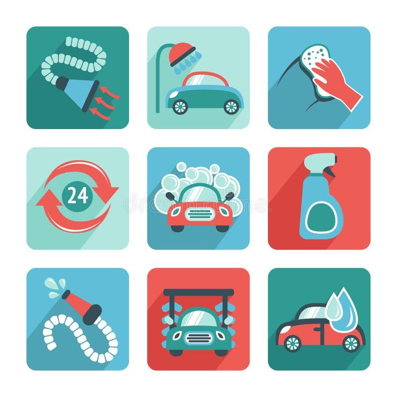 Samochodowego obmycia ikony Płaskie ilustracji