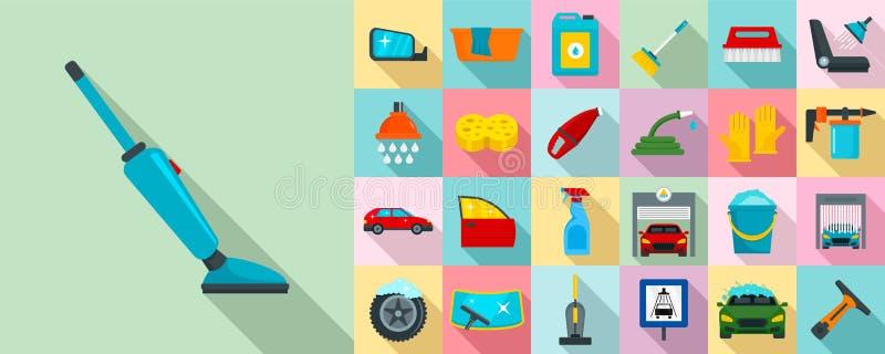 Samochodowego obmycia ikony set, mieszkanie styl ilustracji