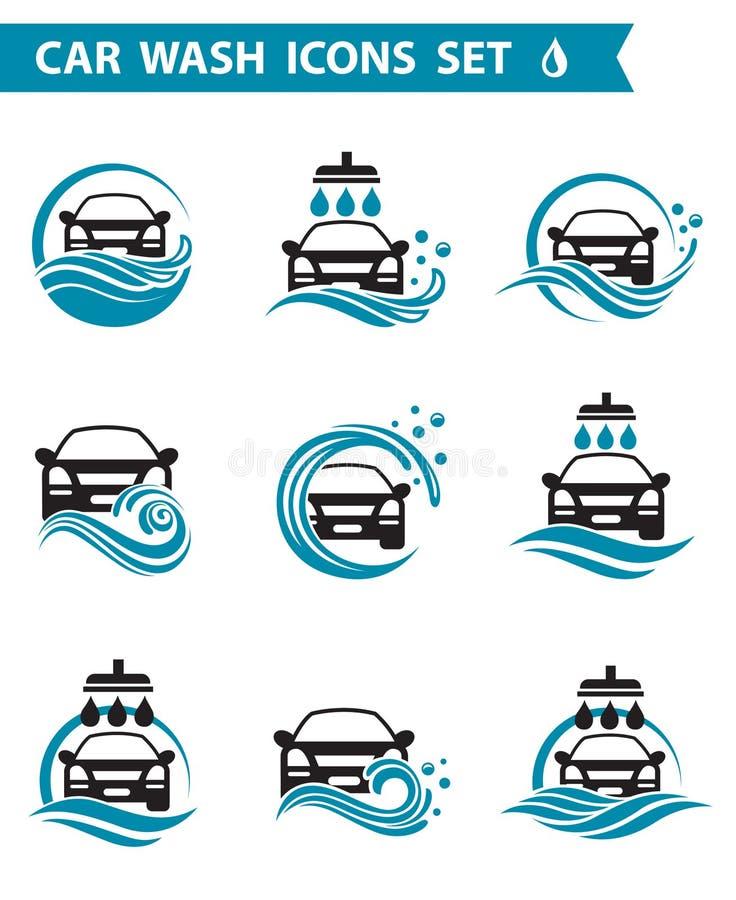 Samochodowego obmycia ikony ustawiać ilustracji