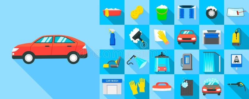 Samochodowego obmycia ikony ustawiać, mieszkanie styl ilustracji
