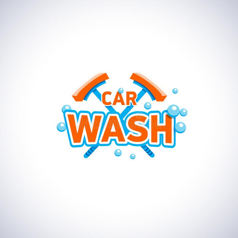 Samochodowego obmycia kreskówki stylu emblemat z bąblami i kwaczem, wektorowy loga szablon Cleaning firmy usługowa logotyp ilustracja wektor