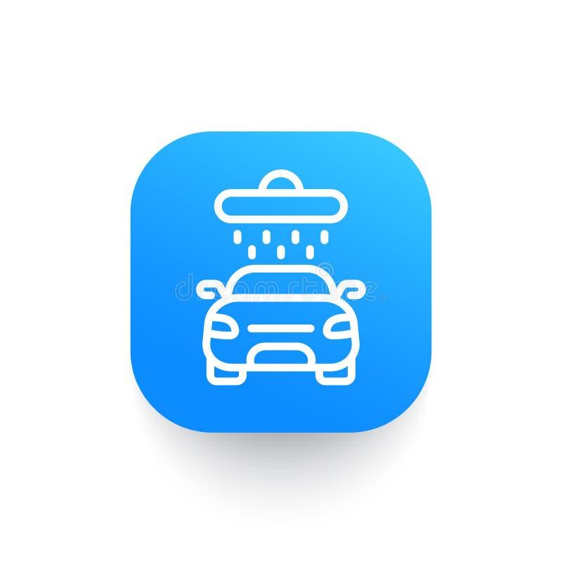 Samochodowego obmycia linii ikona na zaokrąglonym kwadratowym kształcie ilustracji