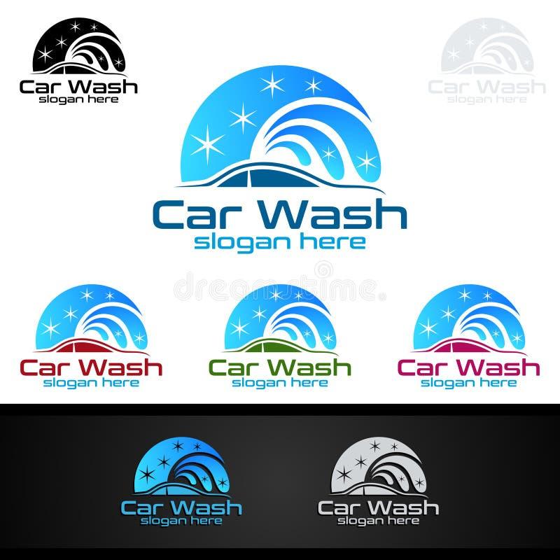 Samochodowego obmycia logo, Wektorowy loga projekt, Czyści samochodu, domycia i usługa, ilustracja wektor