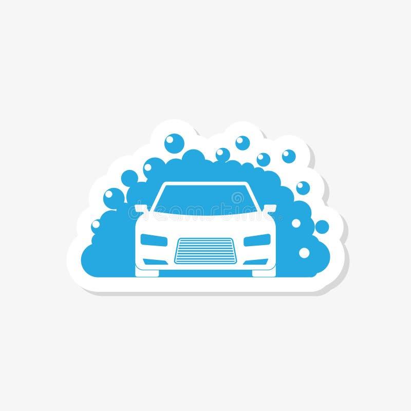 Samochodowego obmycia majcheru logo projekta szablon Auto samochodowego obmycia logo royalty ilustracja
