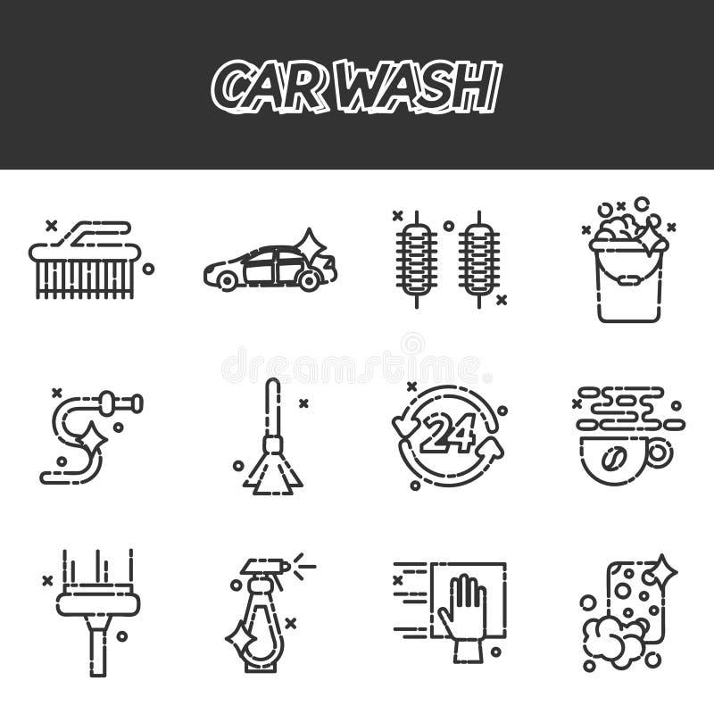 Samochodowego obmycia płaskie ikony ustawiać royalty ilustracja