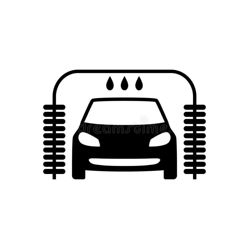 Samochodowego obmycia symbolu ikona Czerń odizolowywający samochodowego obmycia znak ilustracja wektor