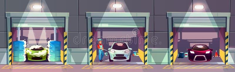 Samochodowego obmycia usług biznesowych kreskówki wektoru pojęcie ilustracja wektor