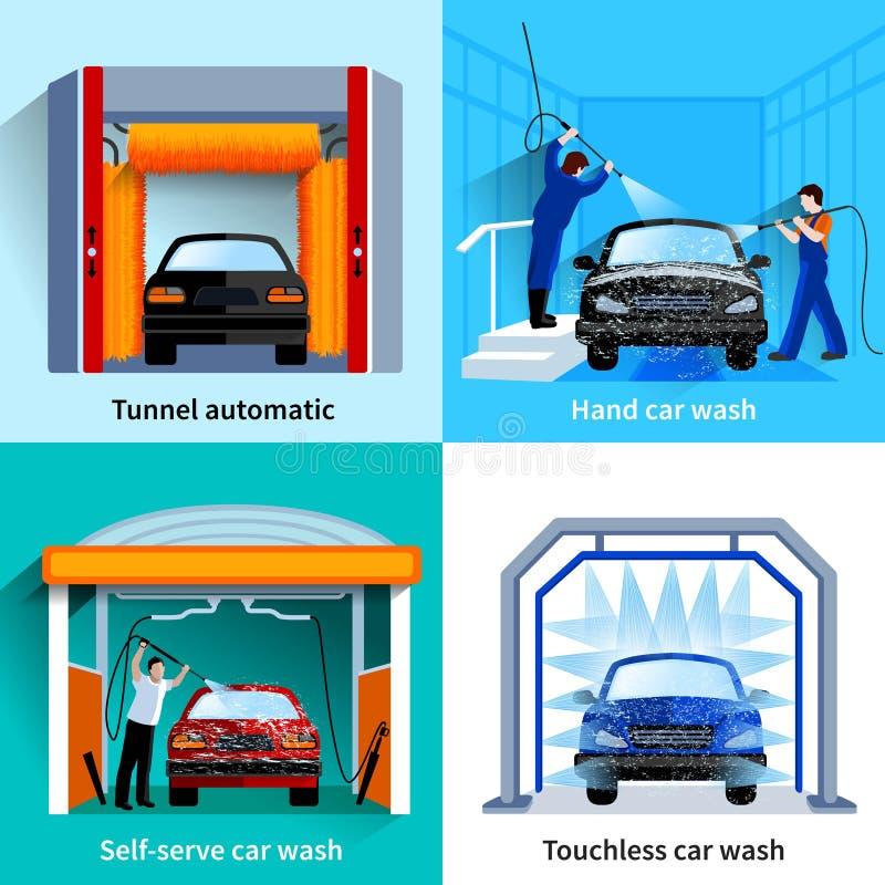 Samochodowego obmycia usługa 4 Płaskie ikony ilustracja wektor