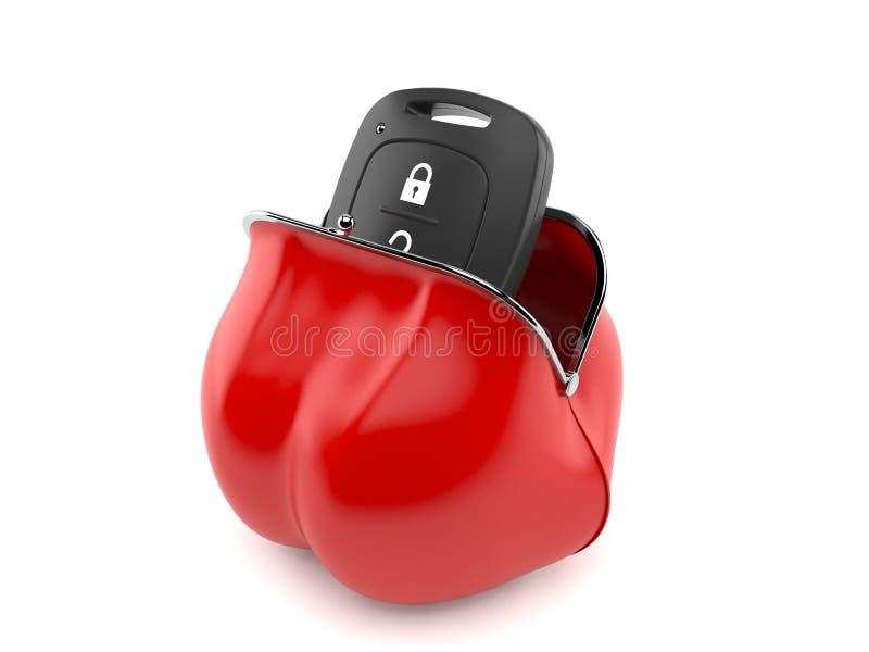 Samochodowego pilota klucza inside czerwona kiesa ilustracji