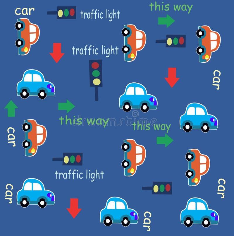 Samochodowego ruchu drogowego zabawy kreskówki wzór royalty ilustracja