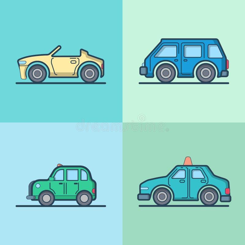 Samochodowego samochodu kabrioletu taxi odwracalna taksówka mini ilustracja wektor