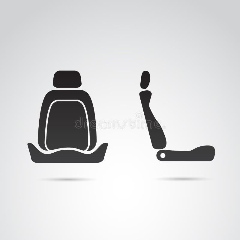Samochodowego siedzenia profilowa i frontowa ikona ilustracja wektor
