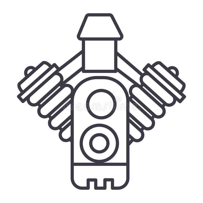 Samochodowego silnika wektoru linii ikona, znak, ilustracja na tle, editable uderzenia ilustracji