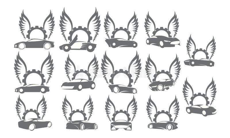 Samochodowego Skrzydłowej przekładni loga Ustalone kolekcje ilustracji