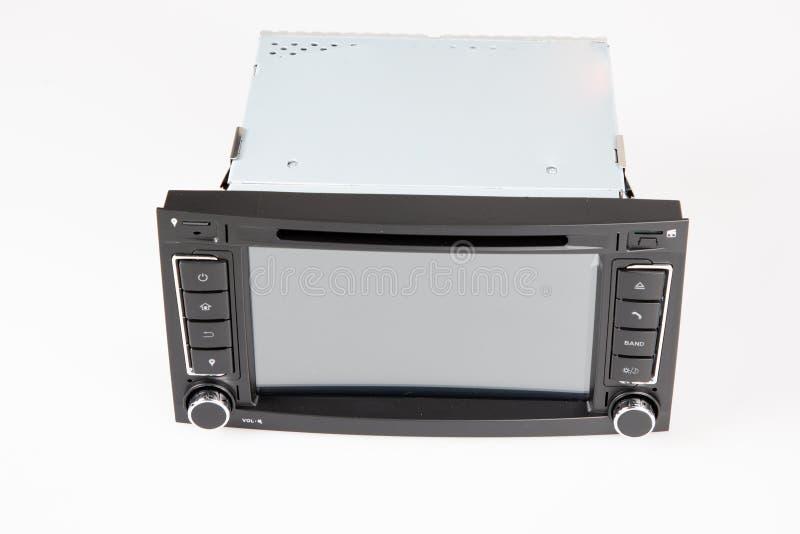 Samochodowego stereo radia ekranu dotykowego interfejsu ustalona nawigacja i multimedialnego systemu kontrola, wewnętrzna nowożyt ilustracja wektor