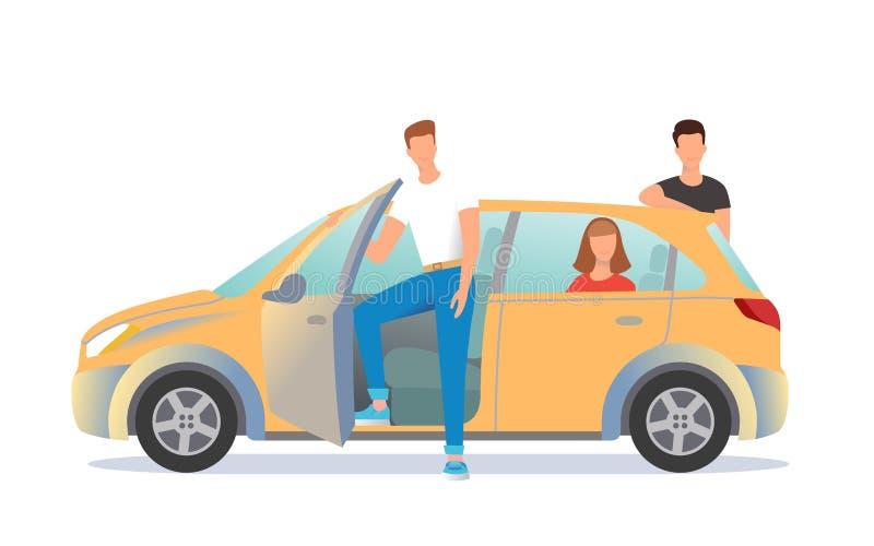Samochodowego udzielenia ilustracja Młodzi ludzie są gotowi ruszać się daleko ilustracji