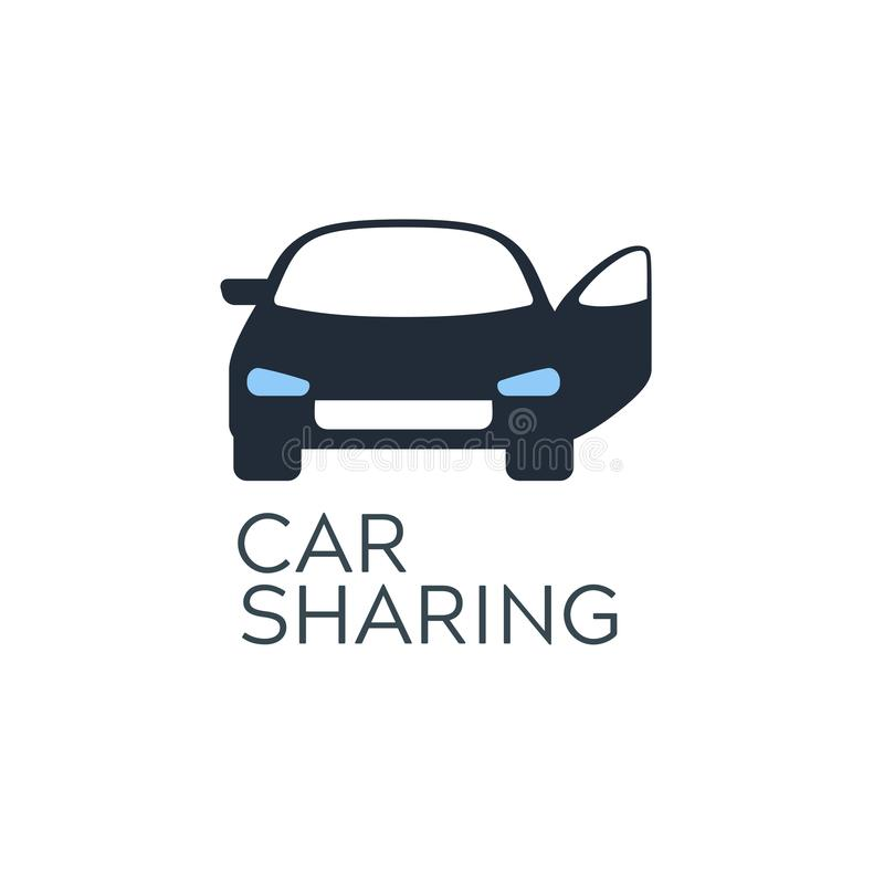 Samochodowego udzielenia usługa ikony projekta pojęcie Carsharing wynajmowania samochód ilustracji