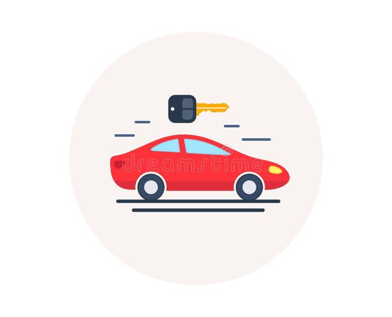 Samochodowego wynajem ikona Samochód remontowa usługa Dodatkowych części sklep Dzierżawi samochód wektor royalty ilustracja
