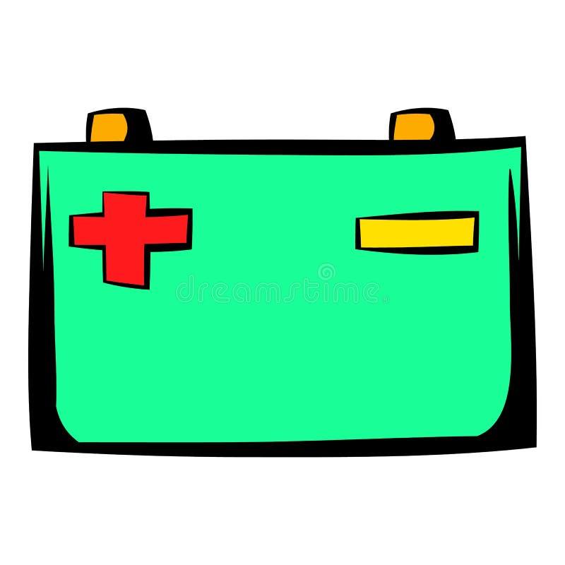 Samochodowej baterii ikony kreskówka ilustracji