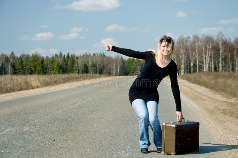 Samochodowej Dziewczyny Drogowy Czekanie Fotografia Stock