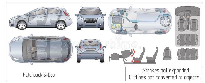 Samochodowej hatchback wnętrza części silnika siedzeń deski rozdzielczej projekta rysunkowi kontury nawracający przedmioty ilustracja wektor