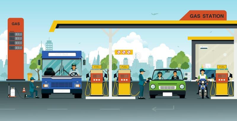 samochodowej karmy benzynowa stacja twój royalty ilustracja